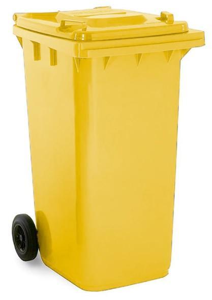 ถังขยะมีล้อ ฝาเรียบ 240 ลิตร สีเหลือง