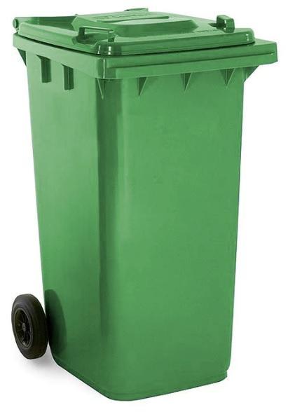 ถังขยะมีล้อ ฝาเรียบ 240 ลิตร สีเขียว
