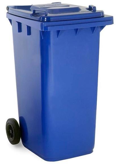 ถังขยะมีล้อ ฝาเรียบ 240 ลิตร สีน้ำเงิน