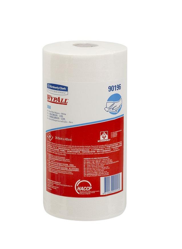 แผ่นเช็ดอุตสาหกรรม X60 แบบม้วน (Wypall* X60 Small Roll Wipers )