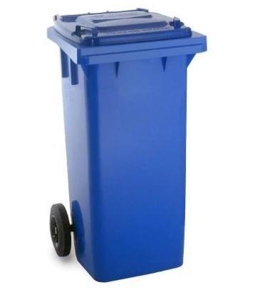 ถังขยะมีล้อ ฝาเรียบ 120 ลิตร สีน้ำเงิน