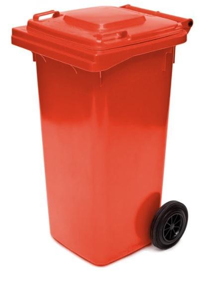 ถังขยะมีล้อ ฝาเรียบ 120 ลิตร สีแดง