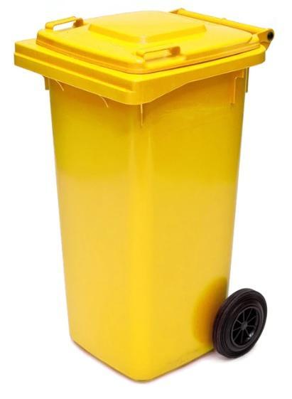 ถังขยะมีล้อ ฝาเรียบ 120 ลิตร สีเหลือง