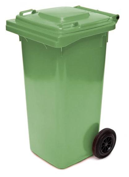 ถังขยะมีล้อ ฝาเรียบ 120 ลิตร สีเขียว