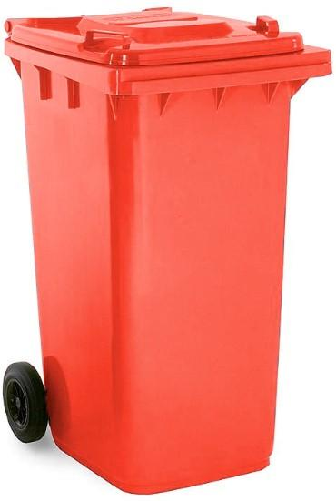 ถังขยะมีล้อ ฝาเรียบ 240 ลิตร สีแดง